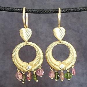 18k Earrings, Diamonds, Pink & Green Tourmaline